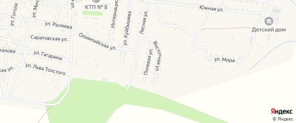 Полевая улица на карте села Сасыколи Астраханской области с номерами домов