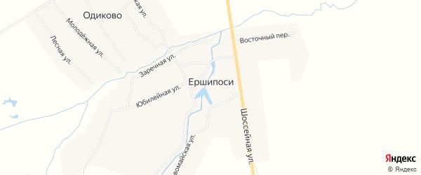Карта деревни Ершипоси в Чувашии с улицами и номерами домов