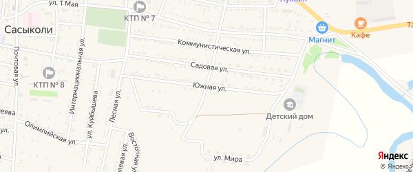 Южная улица на карте села Сасыколи Астраханской области с номерами домов