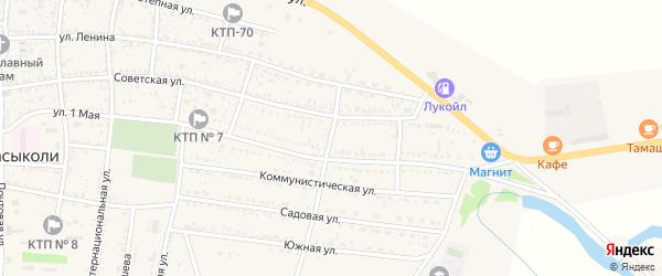 Пролетарский переулок на карте села Сасыколи Астраханской области с номерами домов