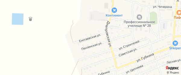 Енотаевская улица на карте села Енотаевки Астраханской области с номерами домов