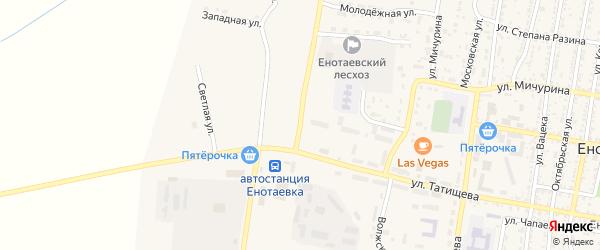 Днепровская улица на карте села Енотаевки Астраханской области с номерами домов