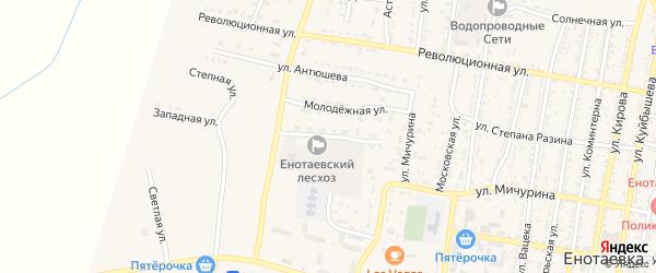 Юбилейная улица на карте села Енотаевки Астраханской области с номерами домов