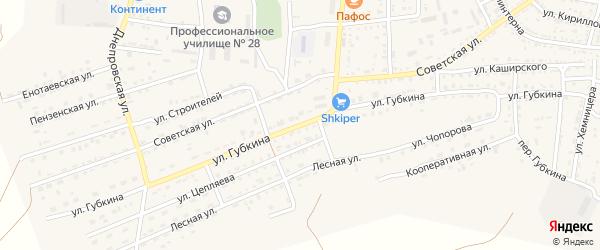 Улица Губкина на карте села Енотаевки Астраханской области с номерами домов