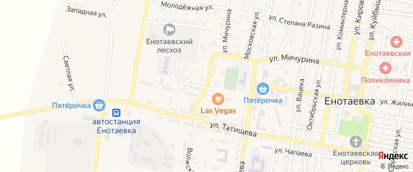 Донская улица на карте села Енотаевки Астраханской области с номерами домов