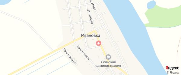 Улица Мира на карте села Ивановки Астраханской области с номерами домов