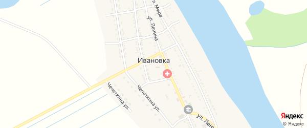 Улица Чечеткина на карте села Ивановки Астраханской области с номерами домов