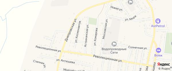 Астраханская улица на карте села Енотаевки Астраханской области с номерами домов