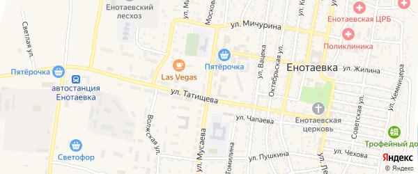 Улица Мусаева на карте села Енотаевки Астраханской области с номерами домов
