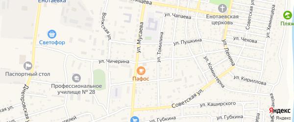 Улица Чичерина на карте села Енотаевки Астраханской области с номерами домов