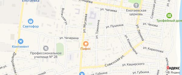 Улица Чичерина на карте села Енотаевки с номерами домов