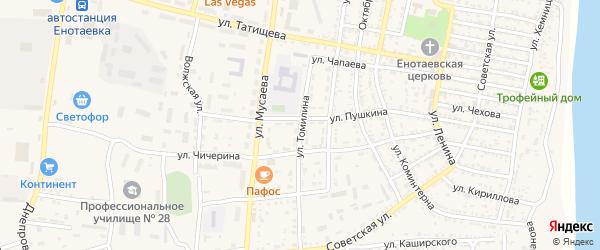 Улица Томилина на карте села Енотаевки Астраханской области с номерами домов