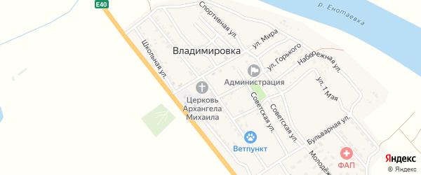 Улица А.Кенжиева на карте села Владимировки Астраханской области с номерами домов