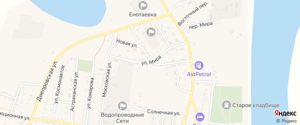 Улица Мира на карте села Енотаевки Астраханской области с номерами домов