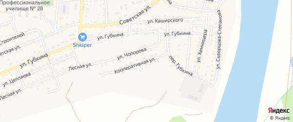 Кооперативная улица на карте села Енотаевки Астраханской области с номерами домов