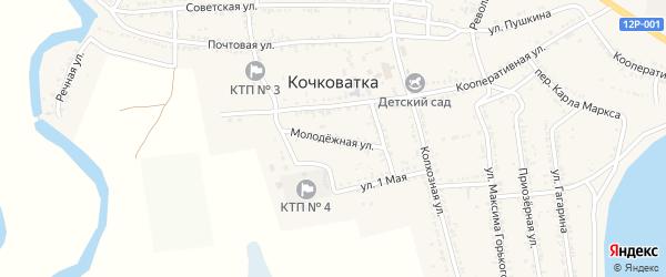 Молодежная улица на карте села Кочковатки Астраханской области с номерами домов