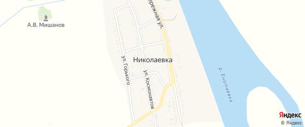Набережная улица на карте села Николаевки Астраханской области с номерами домов