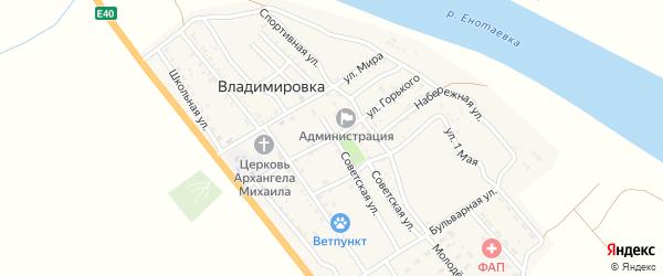 Улица Горького на карте села Владимировки Астраханской области с номерами домов