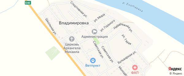 Советская улица на карте села Владимировки Астраханской области с номерами домов