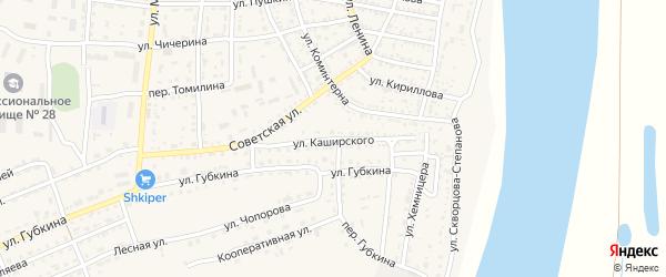 Улица Каширского на карте села Енотаевки Астраханской области с номерами домов