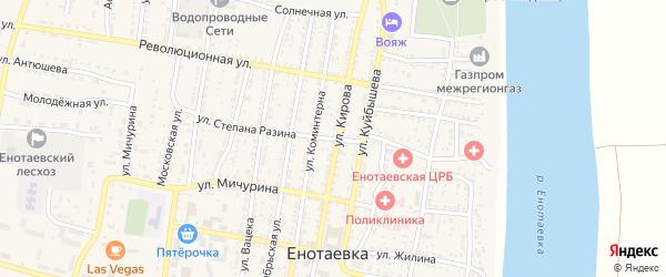 Улица Степана Разина на карте села Енотаевки Астраханской области с номерами домов