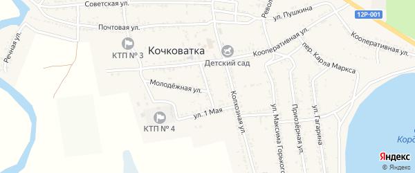 Школьный переулок на карте села Кочковатки Астраханской области с номерами домов