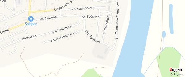 Переулок Губкина на карте села Енотаевки Астраханской области с номерами домов