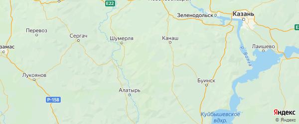 Карта Ибресинского района Республики Чувашии с городами и населенными пунктами