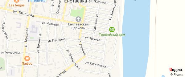 Улица Чехова на карте села Енотаевки Астраханской области с номерами домов
