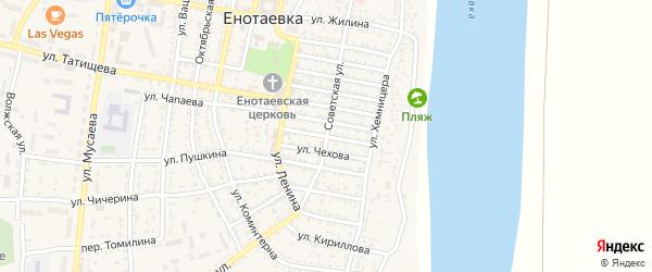 Улица Москаленко на карте села Енотаевки Астраханской области с номерами домов