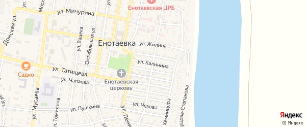 Улица Калинина на карте села Енотаевки Астраханской области с номерами домов