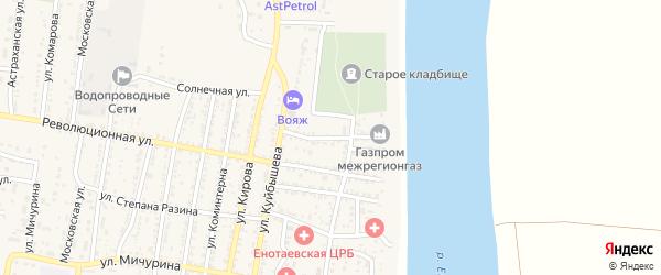 Садовая улица на карте села Енотаевки Астраханской области с номерами домов