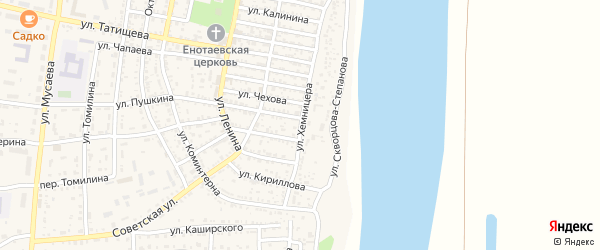 Улица Хемницера на карте села Енотаевки Астраханской области с номерами домов