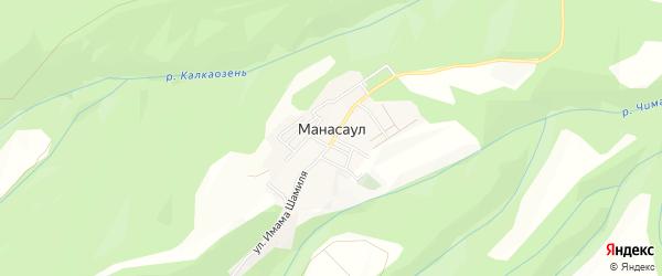 Карта села Манасаула в Дагестане с улицами и номерами домов