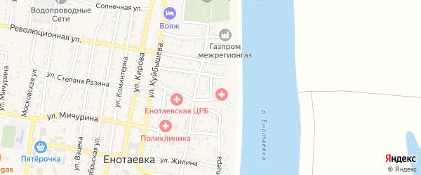 Пролетарский переулок на карте села Енотаевки Астраханской области с номерами домов