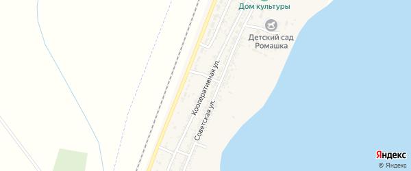 Кооперативная улица на карте села Зензели Астраханской области с номерами домов