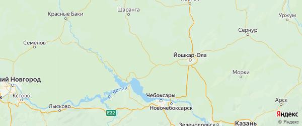 Карта Килемарского района Республики Марий Эл с городами и населенными пунктами