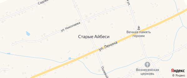 Школьный переулок на карте села Старые Айбеси с номерами домов
