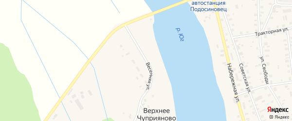 Весенняя улица на карте деревни Верхнее Чуприяново Кировской области с номерами домов