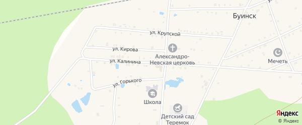 Улица Калинина на карте поселка Буинска Чувашии с номерами домов