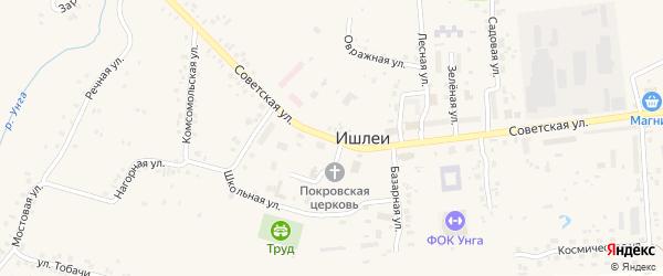 Советская улица на карте села Ишлеи Чувашии с номерами домов