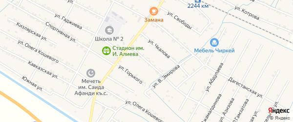 Улица Победы на карте села Нового Чиркея Дагестана с номерами домов