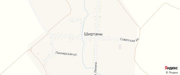Советская улица на карте деревни Ширтаны Чувашии с номерами домов