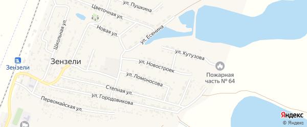 Улица Новостроек на карте села Зензели Астраханской области с номерами домов