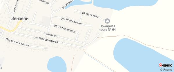 Улица Мечникова на карте села Зензели Астраханской области с номерами домов