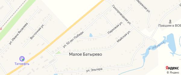 Улица 50 лет Победы на карте поселка Ибреси Чувашии с номерами домов