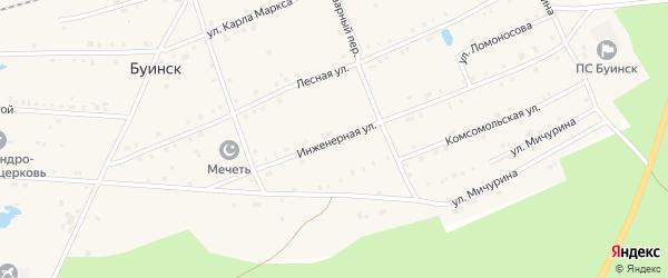 Инженерная улица на карте поселка Буинска Чувашии с номерами домов