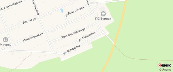 Улица Мичурина на карте поселка Буинска Чувашии с номерами домов