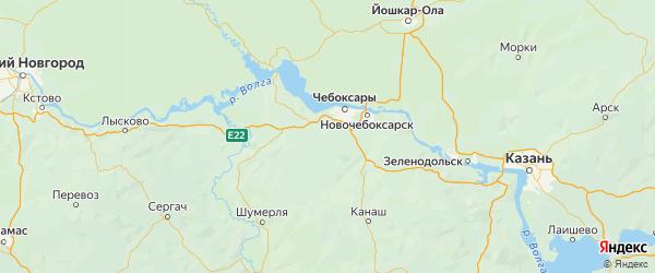 Карта Чебоксарского района республики Чувашия с населенными пунктами и городами