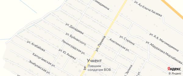 Улица Дахадаева на карте села Учкента Дагестана с номерами домов